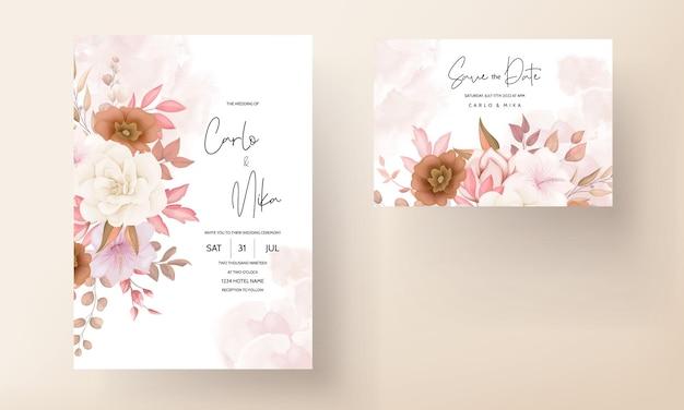 Boho bloemen bruiloft uitnodigingskaart Gratis Vector