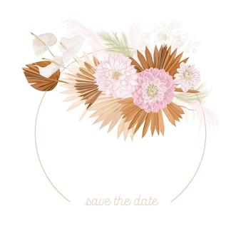 Boho bloemen bruiloft vector frame. aquarel pampagras, dalia bloemen, droge palmbladeren grens sjabloon voor huwelijksceremonie, minimale uitnodigingskaart, decoratieve zomer banner