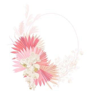 Boho bloemen bruiloft vector frame. aquarel pampasgras, orchideebloemen, droge palmbladeren grenssjabloon voor huwelijksceremonie, minimale uitnodigingskaart, decoratieve zomerbanner