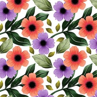 Boho bloemenpatroon met aquarel