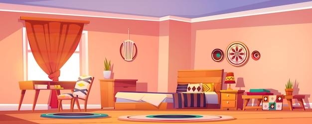 Boho, boheemse slaapkamer interieur, lege kamer ontwerp