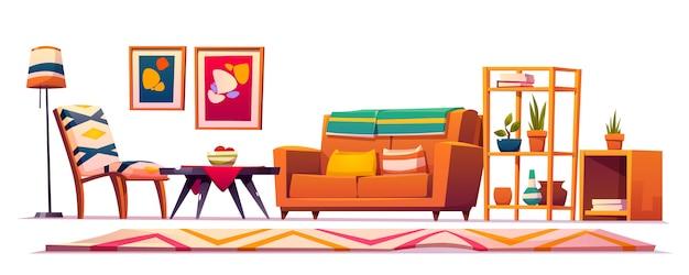 Boho, boheemse woonkamer interieur, hipster stijl
