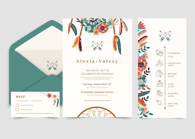 Boho bruiloft briefpapier collectie