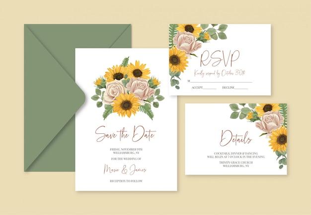 Boho bruiloft sjabloon kaarten met zonnebloemen en rozen