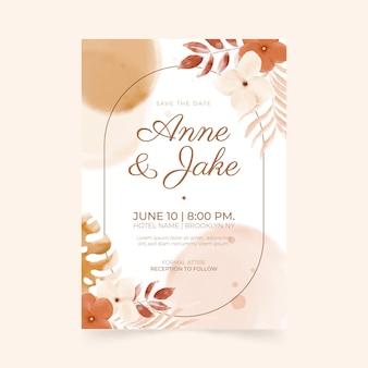 Boho bruiloft uitnodiging sjabloon