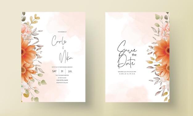 Boho bruiloft uitnodigingskaart bruin bloemen Premium Vector