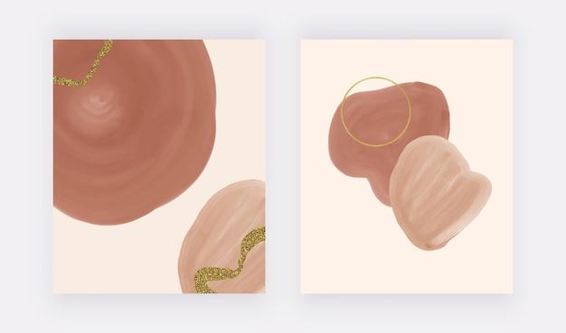 Boho bruine penseelstreek aquarel vormen en lijnen