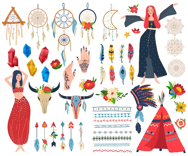 Boho chic vector illustratie set
