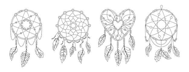 Boho dromenvanger met veren zwarte omtrek set. etnisch ontwerp, boho chic. talisman zoete droom