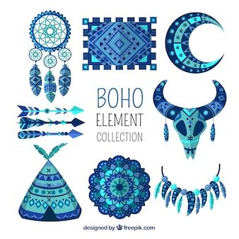 Boho elementencollectie met plat ontwerp
