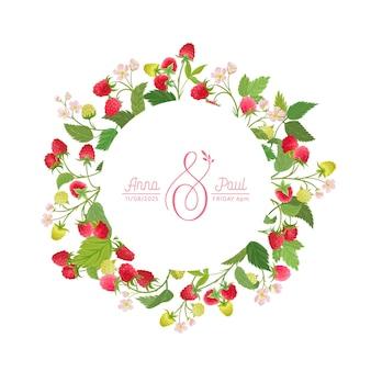 Boho framboos bloemen bruiloft vector frame. aquarel bessen, bloemen, bladeren grens sjabloon voor huwelijksceremonie, minimale lente uitnodigingskaart, decoratieve zomer banner