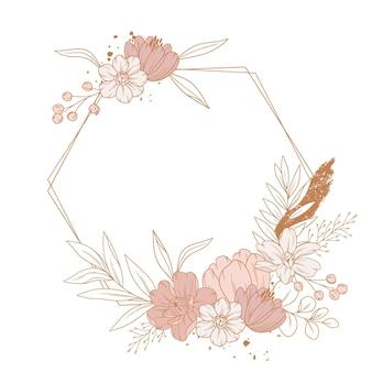 Boho frame met gravure handgetekende elementen