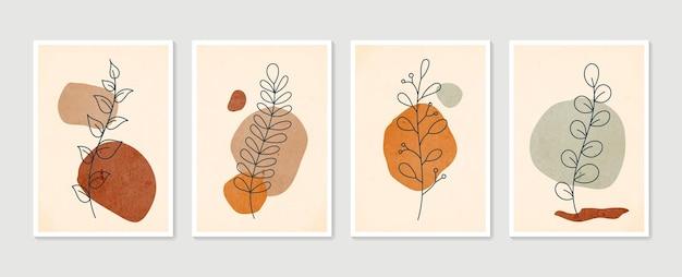 Boho gebladerte lijntekeningen met abstracte vorm. abstracte plant art.