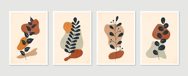 Boho gebladerte lijntekeningen met abstracte vorm. abstracte plantkunst.