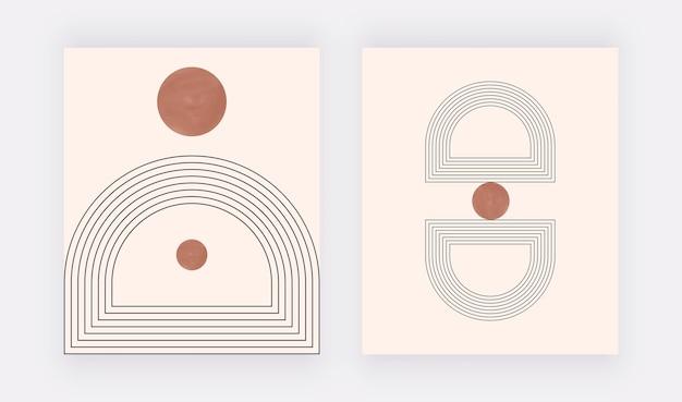 Boho geometrische kunst aan de muur met ronde vormen en lijnen