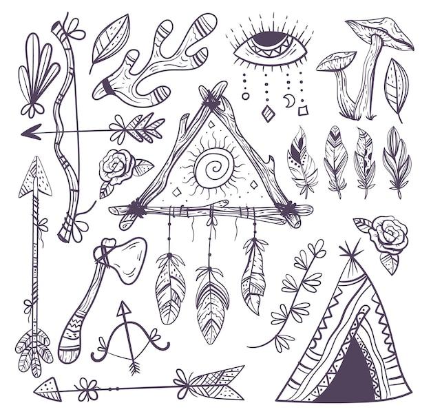 Boho hand getekende esoterische element design collectie set