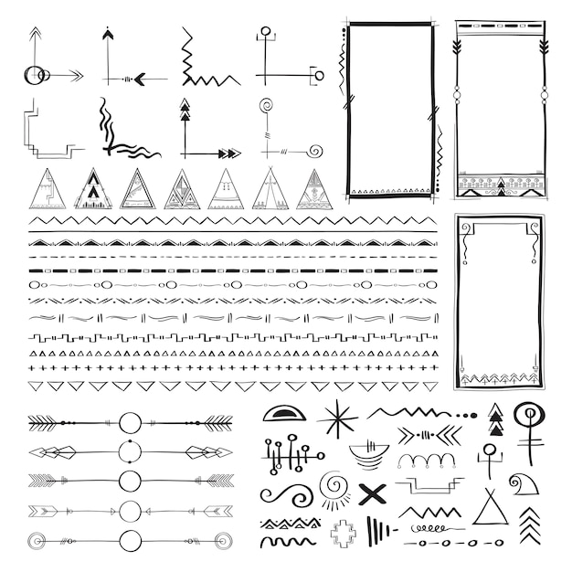 Boho hand tekenen doodle collectie vector illustratie