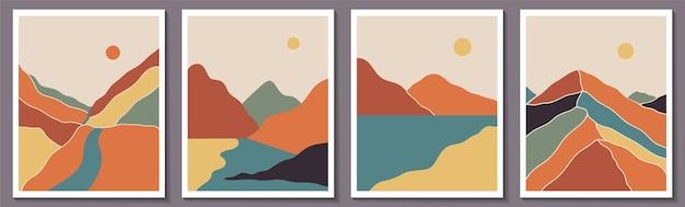 Boho hedendaagse landschapsposters met rivier, zon, maan, bergen,