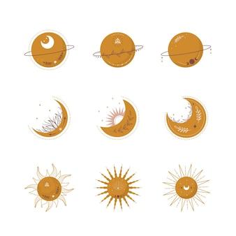 Boho hemelse elementen. trendy maan, zon en planeten in gele kleur.