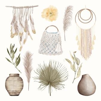 Boho home decoration-elementen met tropische bladeren en bloemen