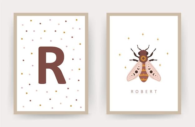 Boho honingbij. posters met kindernaam.
