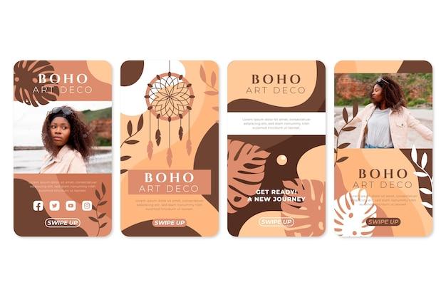 Boho instagram verhalenverzameling met foto