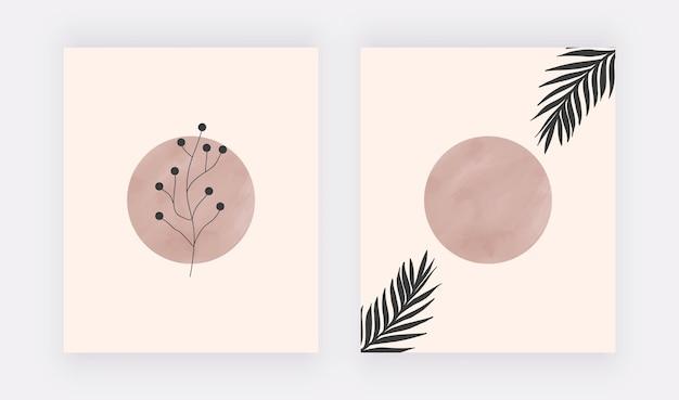 Boho kunst aan de muur prints met nude aquarel ronde vormen en bladeren