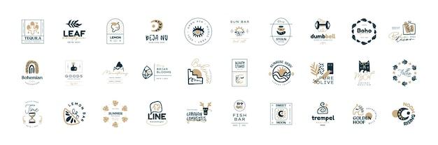 Boho logo ontwerp sjablonen collecties doodle boheemse pictogrammen en symbolen set moderne tribale etnische