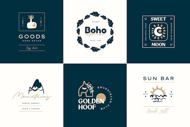 Boho logo ontwerp sjablonen collecties doodle boheemse pictogrammen en symbolen set