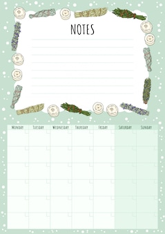 Boho maandelijkse kalender met salie smudge sticks elementen en to do list.