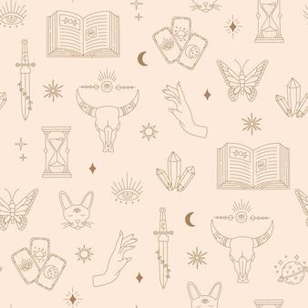 Boho magische naadloze patroon, etnische hekserij objecten maan, oog, handen, zon, gouden eenvoudige lijn, boheemse mysticus