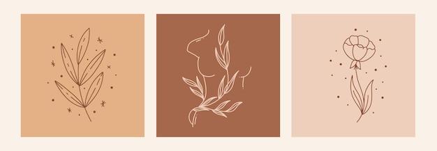 Boho mystic doodle esoterische set magic line art poster met blad vrouw lichaam bloem