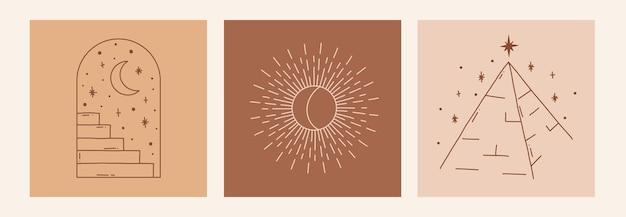 Boho mystic doodle esoterische set magic line art poster met boog trappen maan piramide zon