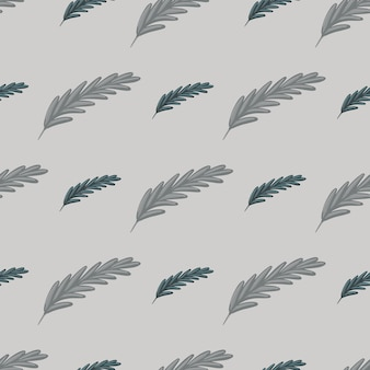 Boho naadloos patroon in grijze bleke stijl met veervormen. abstracte hand getrokken natuur sieraad. perfect voor stofontwerp, textielprint, verpakking, omslag. vector illustratie.