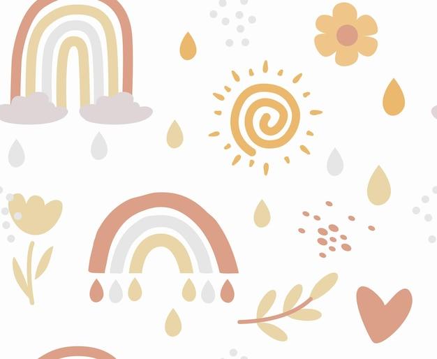 Boho naadloos regenboogpatroon kinderen