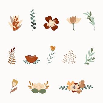 Boho of vintage herfstbloemen herfst bloemen handtekening vector designelementen