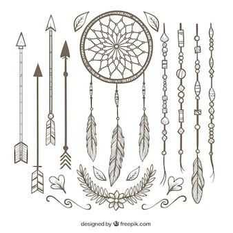 Boho pack met verscheidenheid van decoratieve artikelen