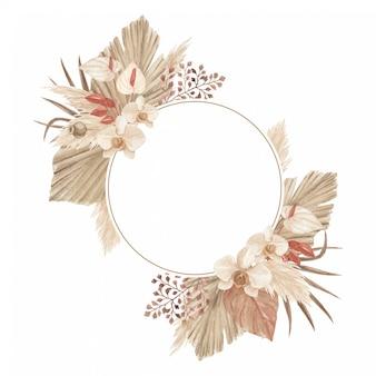 Boho pampas grass frame met palm speer, calla lelie en orchidee, perfect voor wenskaart, uitnodiging en elk ander ontwerp