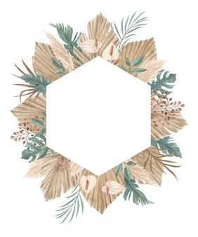 Boho pampas grass frame met palm speer, calla lelie, orchidee en tropische jungle bladeren perfect voor wenskaart, uitnodiging en elk ander ontwerp