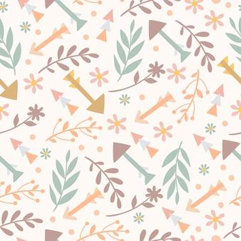 Boho patroon met planten en pijlen