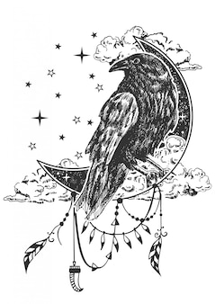Boho raven illustratie