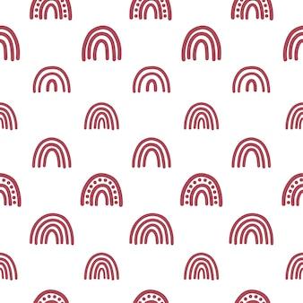 Boho regenbogen naadloos patroon met witte achtergrond