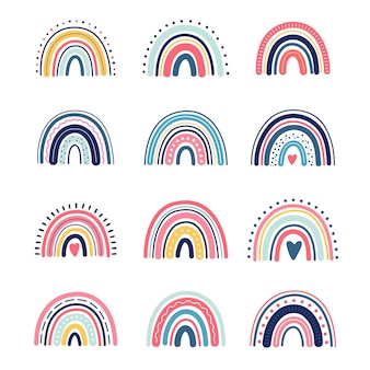 Boho regenboog, schattige kinderen, kinderillustratie, in handgetekende stijl