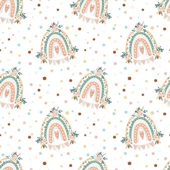Boho regenboogpatroon kwekerij regenboog en bloemenillustratie naadloze patroonachtergrond