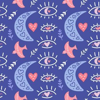 Boho romantisch patroon. moderne platte kunstdruk met boheemse maan, vogel, hart, ogen.
