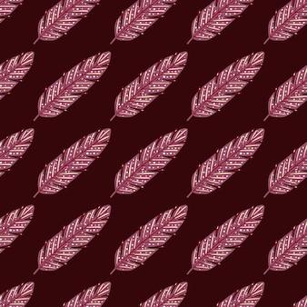 Boho roze veer naadloos doodlepatroon voor decoratief ontwerp