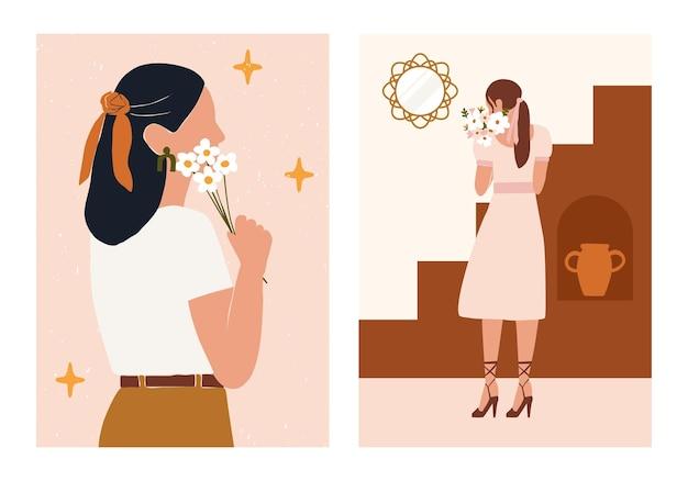 Boho-samenvatting met silhouet van het vrouwengezicht met bloemenboeketbloemen