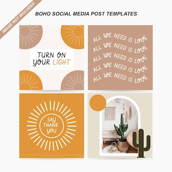 Boho social media postsjabloon gratis vector