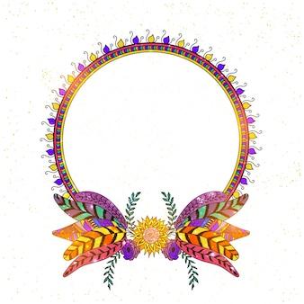 Boho-stijl frames met etnische hand getrokken elementen