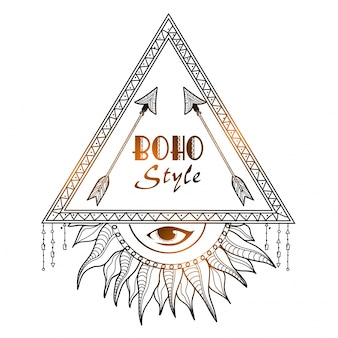 Boho stijl glanzend tribal frame met pijlen en alles zien oog. hand getekend ornamenteel ethisch element.